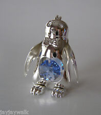 """SWAROVSKI CRYSTAL ELEMENTS """"CHILLY WILLY"""" PENGUIN FIGURINE SILVER PLATED"""