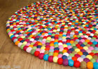 100%Wool Multi-Color Felt Ball 180cm Round Rug Freckle Nursery Pom Pom Mat Nepal