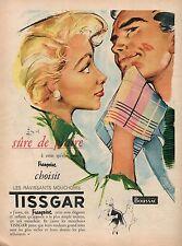▬► PUBLICITE ADVERTISING AD TISSGAR Mouchoir Pierre Couronne 1954