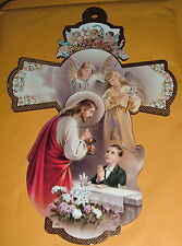 FIRST COMMUNION  JESUS  W/ BOY LB 8 in Wood Cross NEW Religious Catholic ITALY