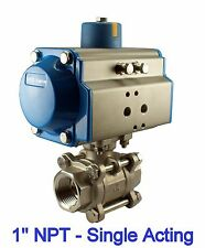 "1"" Inch Pneumatic Air Actuated Stainless 3 Pieces Ball Valve Single Acting  NC"