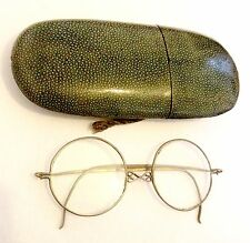 Antique Chinese Shagreen Case & Metal Frame Bevelled Glass Spectacles