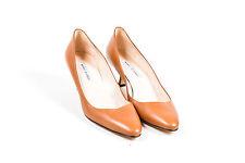 Manolo Blahnik Brown Leather Almond Toe Low Heel Pumps SZ 39.5
