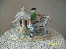 Horse Drawn Coach Carriage Hand Painted Porcelain With Victorian Couple
