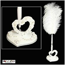 Luxury Wedding Day BRIDAL GIFT Rose Heart Quill Pen and Holder