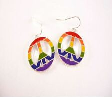 1 PAIR GAY LESBIAN PRIDE RAINBOW FLAG PEACE DESIGN PIERCED WIRE DANGLE EARRINGS