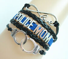 Infinity Love POLICE MOM Handcuffs Charms Leather Braided Bracelet Pretty
