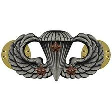 Army Badge Regulation Size Combat Parachute Third Award  Silver Oxidize