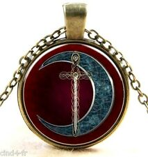 Médaillon vintage +Chaine bronze /Medallion +Chain necklace-Sword,moon/Epée,lune