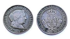 5 Centimos de Escudo 1868 OM (Barcelona) España. Isabel II°. Cobre