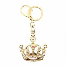 Golden Crown Rhinestone Crystal Princess Queen Charm Pedant Purse Key Chain