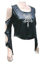 Black Gothic PVC Top, Split Sleeve, Tribal Tattoo Design, One Size UK 12-16