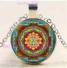 Sri Yantra Photo Cabochon Glass Tibet Silver Chain Pendant Necklace#BD46