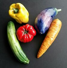 Glass Vegetables 5 Pieces Murano ? Italy Gorgeous EUC Carrot Pepper Eggplant + 2
