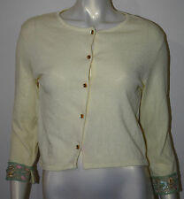 POSHE Pale Yellow Beaded Trim Cardigan Sweater M Glass Flower Marble Buttons