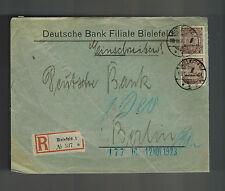 1923 Bielefeld Germany Inflation cover to Berlin Deutsche Bank