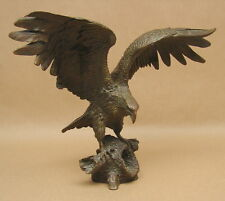 Vintage Eagle w/ Outstretched Wings Cast Bronze Sculpture Statue