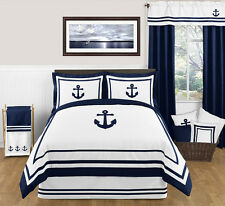 NAVY WHITE NAUTICAL THEME QUEEN SIZE BED IN BAG COMFORTER SET BEDDING ENSEMBLE