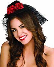 NEW Black MINI GOTH ROSE TOP HAT Victorian Fancy Halloween Costume Accessory