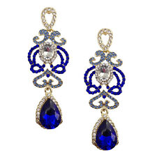 ANTHROPOLOGIE INTRICATE DESIGN BLUE CLEAR SPARKLING 3'' DROP DANGLE EARRINGS NEW