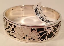 Brighton OP FLOWER Bangle Bracelet Black White Silver Crystals J39252 NWT