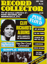 RECORD COLLECTOR - U.K. MAGAZINE - JULY, 1986 - CLIFF RICHARD, SIMPLE MINDS