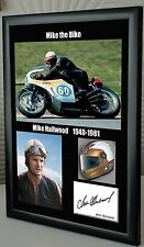 "Mike Hailwood Isle of Man TT Motor Cycle Framed Canvas Signed ""Great Gift"""