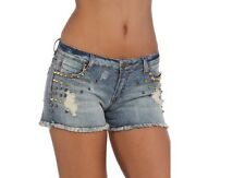 NWT! Romeo & Juliet Couture Stud Embellished Frayed Denim Jean Shorts $155, 24
