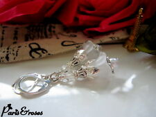 FLOWER Earrings ~PURE WHITE BELL Dangle Lucite Trumpet LILY leverback Silver