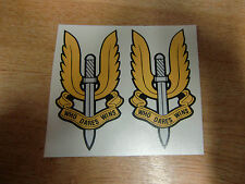 """SAS """"Who Dares Wins"""" emblem - 2x motorcycle stickers / decals - 100mm"""