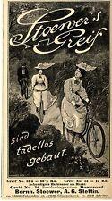 Bernh. Stoewer A.G. Stettin STOEWER`S GREIF Historische Reklame 1899