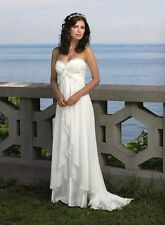 White Chiffon Appliques Pearls Beach Wedding Dresses Bridal Gowns Size 2-16