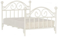 Dollhouse Miniature Bed White Iron Double T5028 1:12 Scale