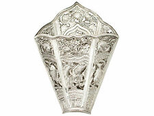 Antique Peranakan Silver Sirih Leaf Holder