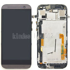 For HTC One M8 Grey LCD Display Touch Screen Digitizer Assembly + Frame Replace