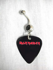 WILD IRON MAIDEN BLACK & RED TEXT PRINTED GUITAR PICK BLACK CZ BELLY BUTTON RING
