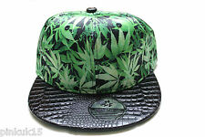 New Green Cannabis Leaf Weed Marijuana Snapback Hat Cap Mens Womens Unisex