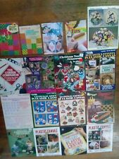 Lot 17 Assortd Needlework Plastic Canvas Leaflets Magazines-Tips-Stitches-XMas++