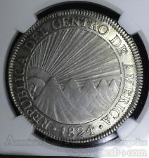 Central American Republic 8 Reales 1824 NGM AU Details NGC silver KM#4 1st 8R.
