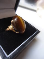 RARE ANTIQUE 14K GOLD 1.6m SUPERIOR CATS TIGERS EYE RING & EXCEPTIONAL SETTING