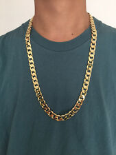 "30"" L 12mm 18K Yellow Gold Plated Chain Necklace Men's Christmas Birthday Gift"