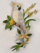 Tropical Art Designs Hand Carved Wooden Cockatoo w/ Metal Leaves Wall Sculpture