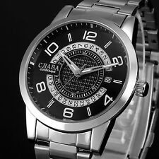 Luxury Mens Black Dial Automatic Mechanical Date Stainless Steel Wrist Watch