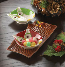 3 Set Owl Green and Red Serving Dishes Winter Seasonal plates
