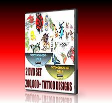 250000 TATTOO DESIGN IDEAS, 2 DISC SET SET DRAGONS HEARTS ANIMALS BIRDS  NEW