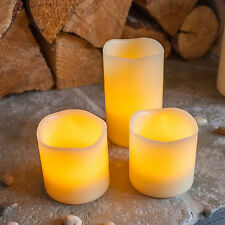 Set Of 3 Battery Operated Flickering Flame LED Real Wax Flameless Pillar Candles
