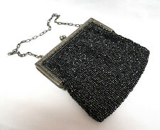 Antique Sparkly Black Micro Beaded Handbag Purse w/ Silver Kiss Lock Frame
