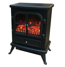 Freestanding Electric Stove Fire Heater with Log Burning Flame Effect Black