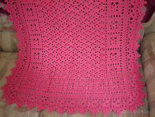 """SWEET DREAMS Hand Crocheted Baby Girl Afghan 32"""" X 38"""" Bubble Gum Pink - NEW"""
