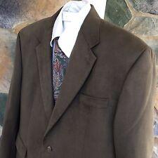 Chaps Faux Suede Blazer Sport Coat Jacket 46R Brown 2 Button Mens